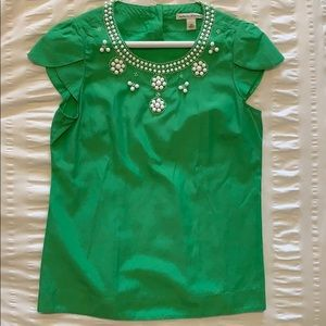 Green Banana Republic Blouse with White Beading